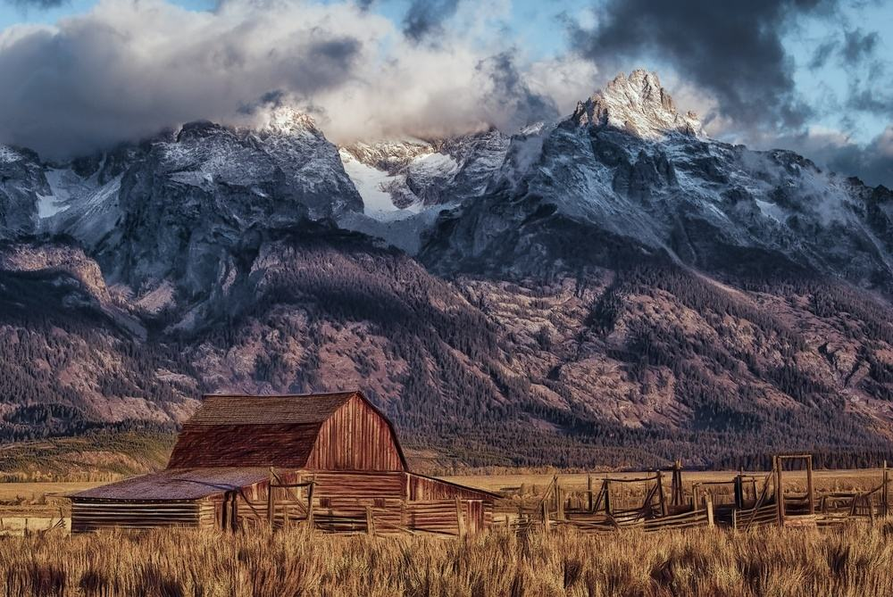 Wyoming farm mountains