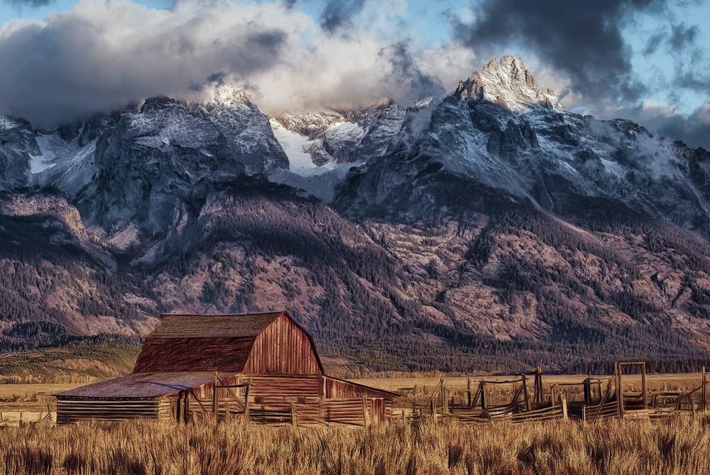 Wyoming farm mountains