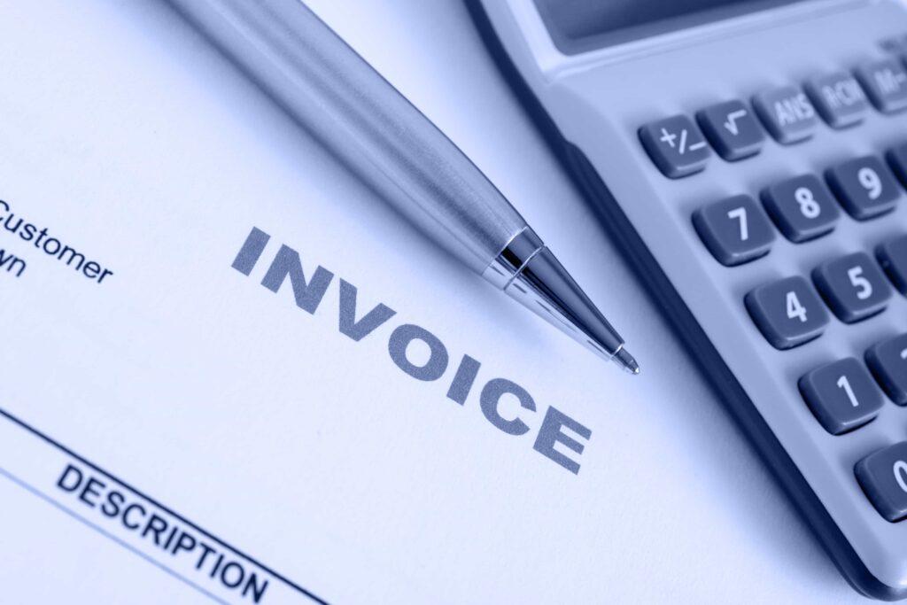 invoice, calculator