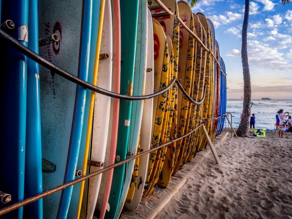 surfboards on beach hawaii
