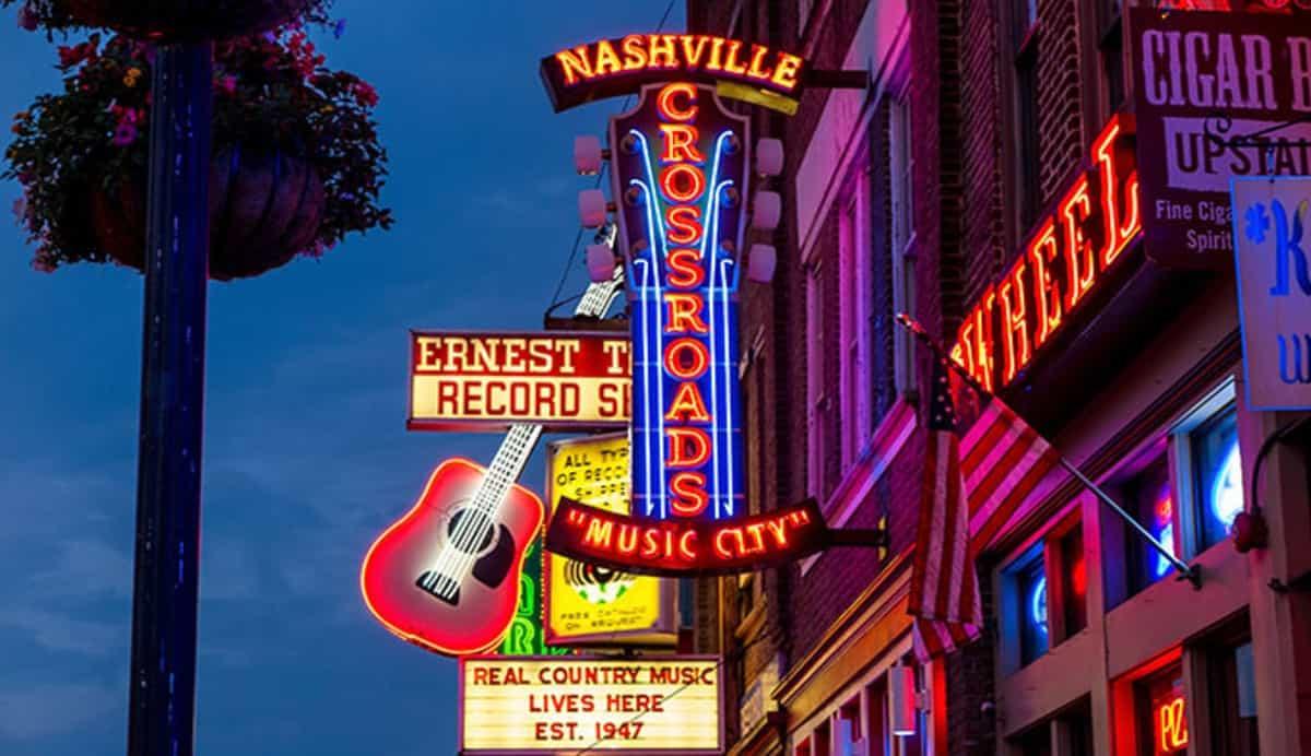 Nashville neon signs on main street downtown