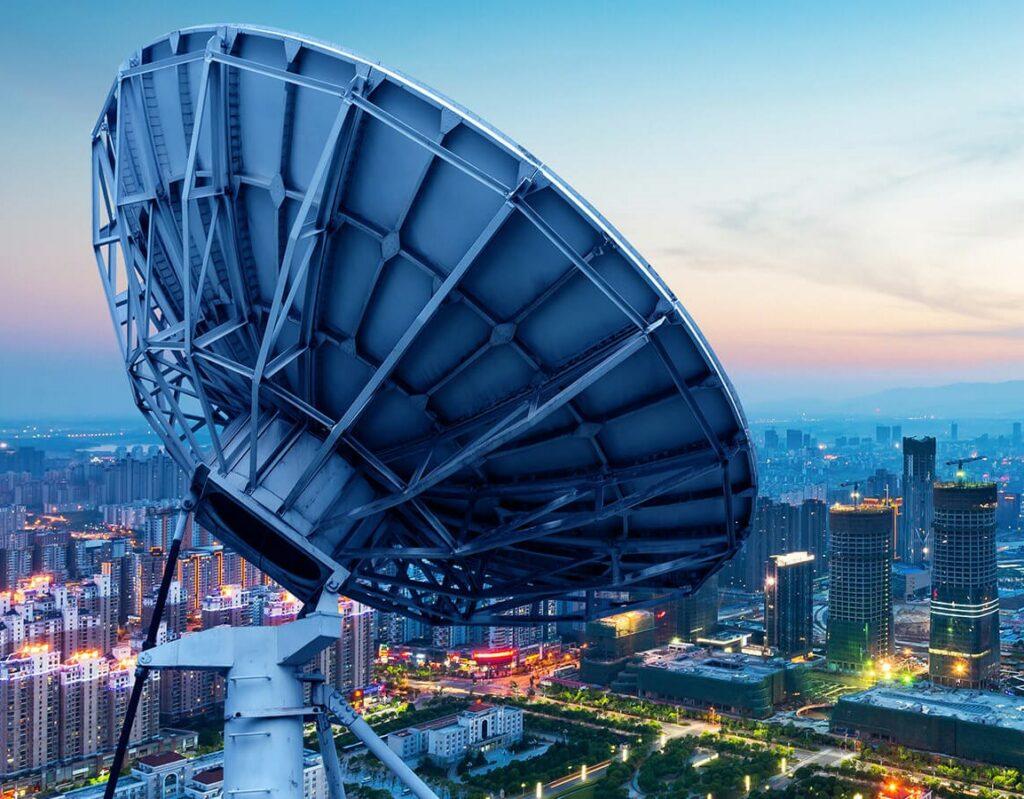 telecom tower over city