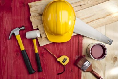 Construction hat and tools